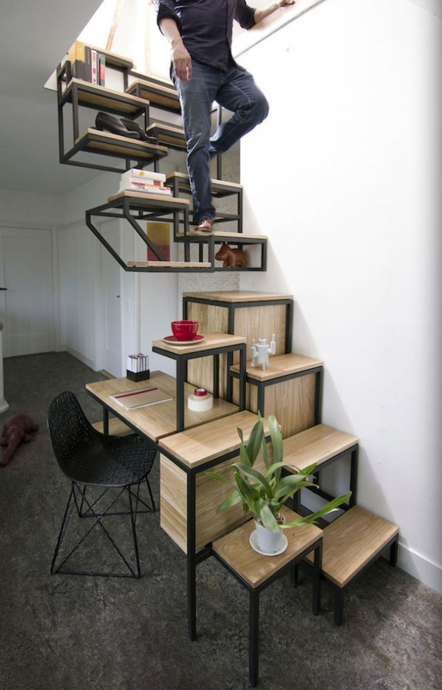 Ultra functional and modern modular stairs / shelves / desk by Mieke Meijer - pretty cool home design! #decor #interiors