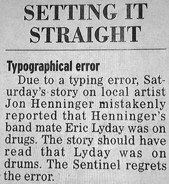 Typographical Error: Drums not Drugs ~ Funny Newspaper Headline Fails