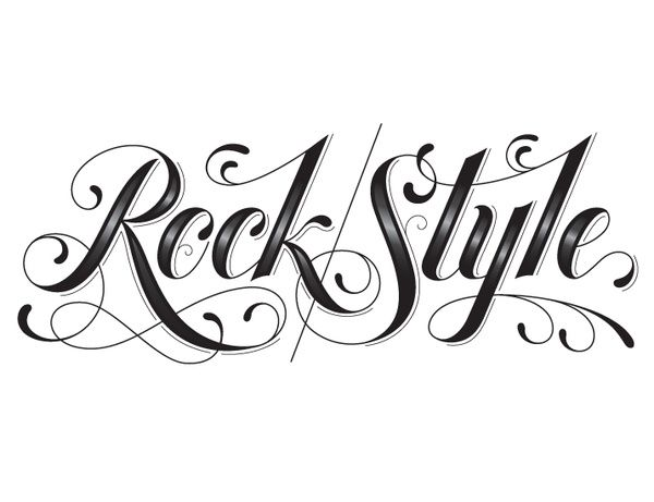 tattoo letter fonts rock style lettering hische design 12274
