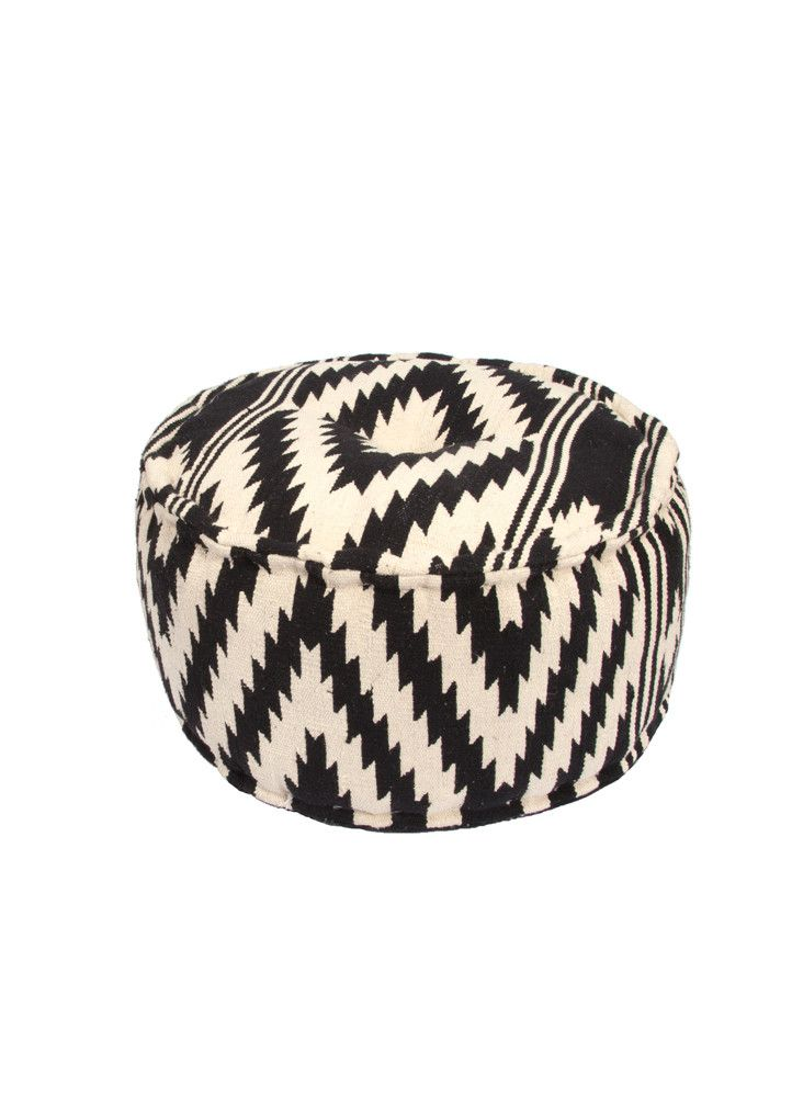 Traditions Pouf in Peat & Turtle Dove design by Jaipur