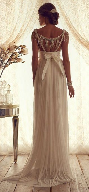 elegant beaded back chiffon dress for vintage wedding!!
