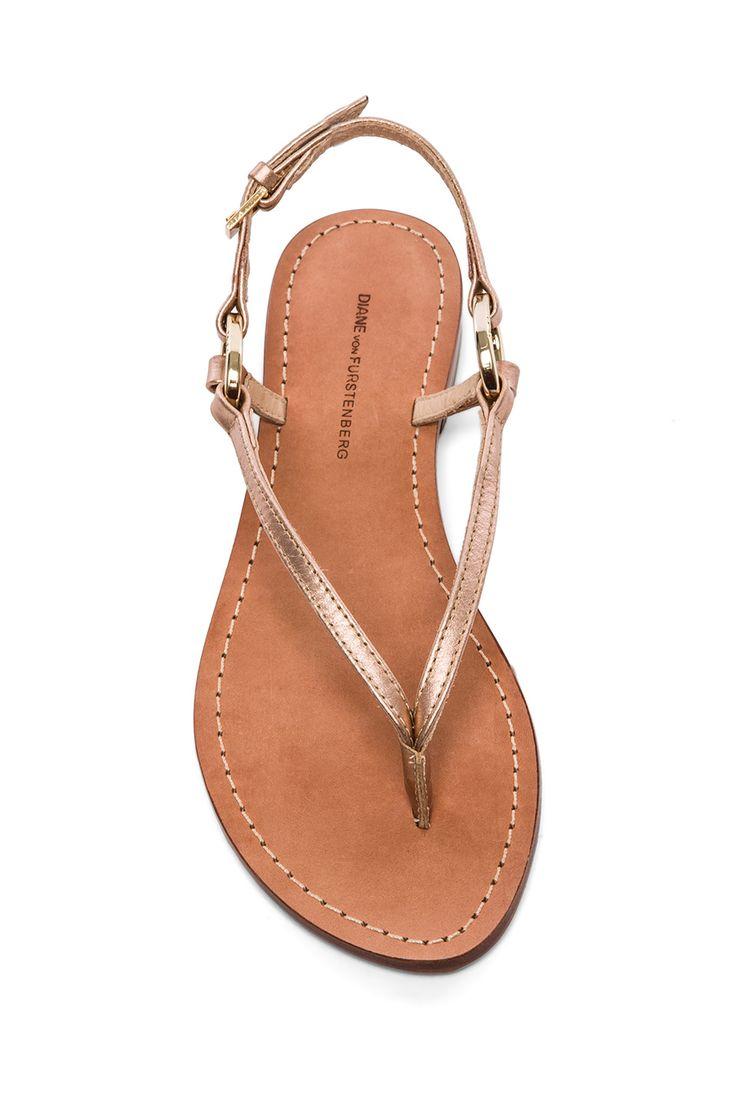 Cailin Sandal, Diane von Furstenberg, rose gold and metallic | shoes