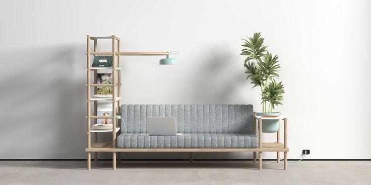 Hermoso sofá con lámpara
