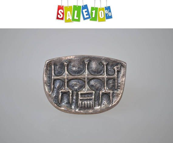 Modernist bronze brooch pin/vintage jewelry designer D. Laszlo, avant-garde brooch/pin 1960s