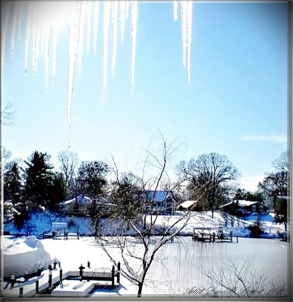 Icicles in MD USA  the day after a snow storm and just in time for the holidays. snow and Ice  covered Chesapeake Bay glistening under a bright sunny christmas eve $$22.00