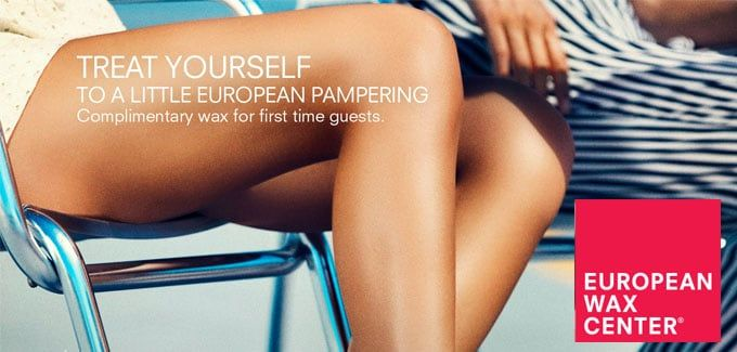 """Get aFREE Body Waxing Service at European Wax Center! First time guests can get a FREE waxing service. Ladies can indulge in a brow, underarm or bikini line wax and gents can go smooth with a free ear, nose or brow wax.European Wax Centeroffers premier eyebrow, bikini, Brazilian and full body waxing. Discover our exclusive wax process for gorgeous skin with a lot less """"ouch."""""""