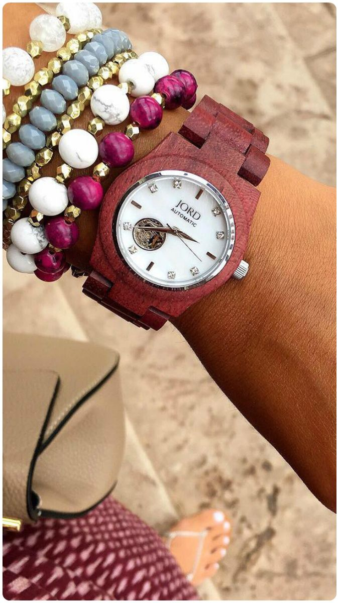 Arms were meant for adornment! Accessorize like you mean it - thank you for the inspo @aimeeffischer  Find her watch, the Cora in natural Purpleheart wood at woodwatches.com - free shipping worldwide!