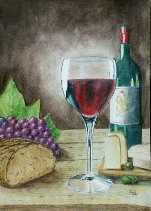 Red wine, cheese and bread. Watercolour by Norman Sumpton.