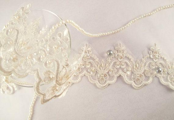 1 Yard Elegant Luxury White Wedding Lace Beaded Lace Bridal Bride's Dress Veil Lace Lace Trim 3 1/2 inches
