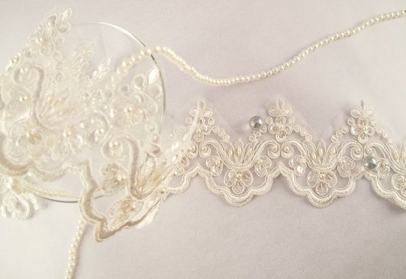 1 Yard Elegant Luxury White Wedding Lace Beaded Lace Bridal Bride's Dress Veil Lace Lace Trim 3 1/2 inches