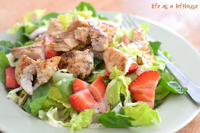 Strawberry Chicken Salad----- so great for a hot day and the strawberry's were a big hit for the kiddos