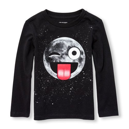 Toddler Boys Long Sleeve Moon Face Emoji Graphic Tee | The Children's Place