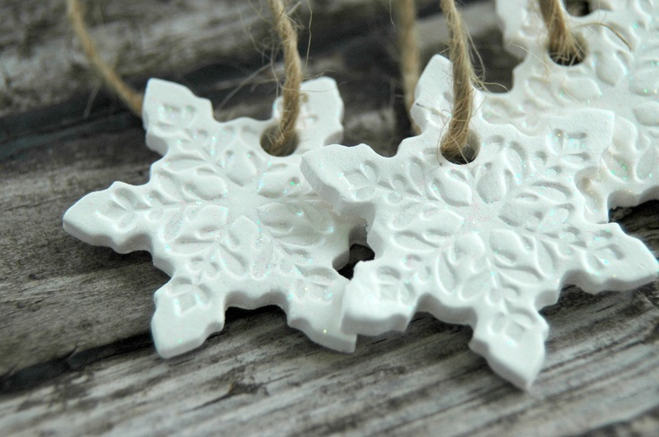 Snowflake Clay Ornaments - use white ribbon instead