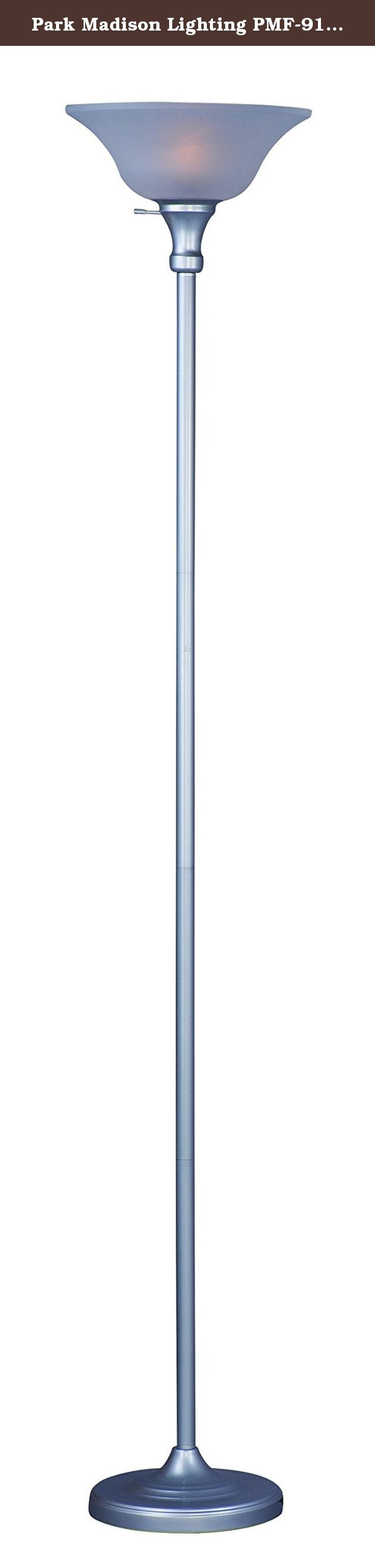 Park Madison Lighting PMF-9171-60 150 Watt Incandescent Torchiere Floor Lamp, 72 inches High in Silver Finish with Frosted Shade, Transitional Design. This 150 watt capacity 72 inch tall incandescent torcher floor lamp has a thicker column than your standard floor lamp and is perfect as a general lighting piece. It features a transitional design, a gorgeous silver finish with a frosted shade and a 3-way switch. It is ETL listed, uses a 3 way 50-100-150 watt or a CFL26 watt bulb and the…