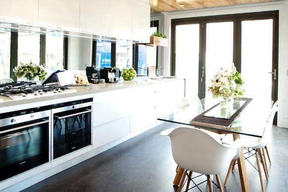 The Block ~ Mike and Andrew's Kitchen. LOVE the mirror splash back