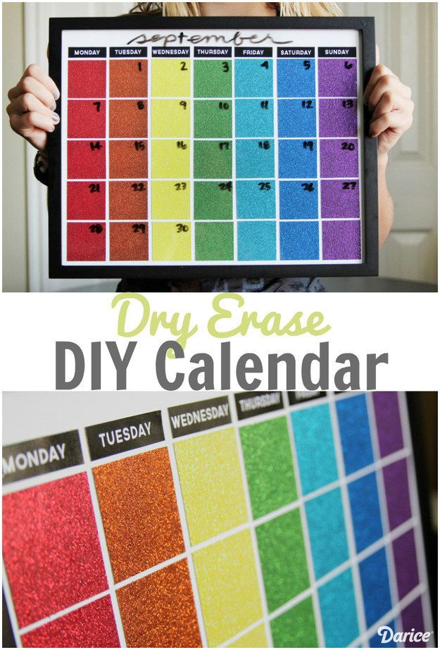 Kick your organization skills into high gear with this DIY dry-erase calendar made of paint swatches. | 7 Easy Ways To Be A Better College Student This Week