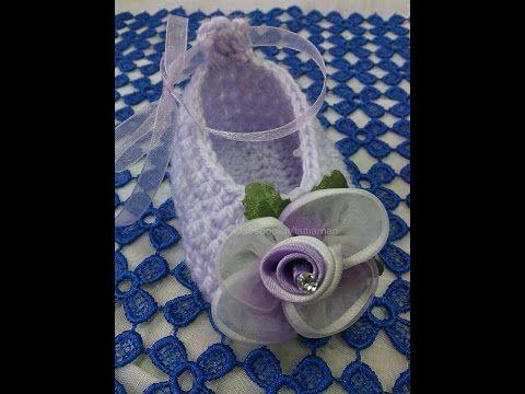 come realizzare una scarpetta neonato - How to make a baby shoe - YouTube