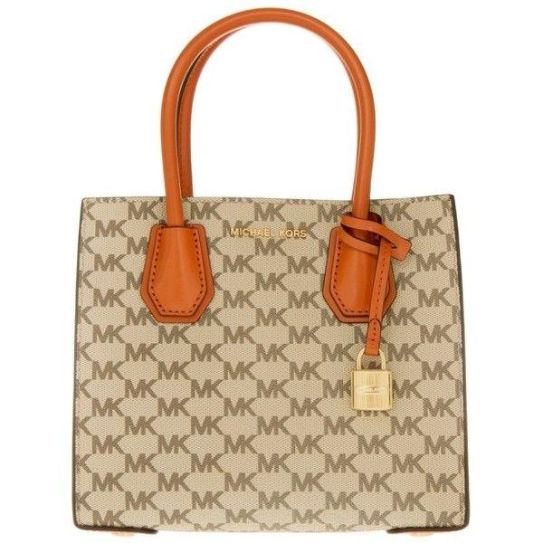 Michael Kors Handle Bag - Mercer MD Messenger Natural/Orange - in... ($270) ❤ liked on Polyvore featuring bags, handbags, tote bags, hand bags, orange tote bag, man bag, messenger tote bags and orange tote