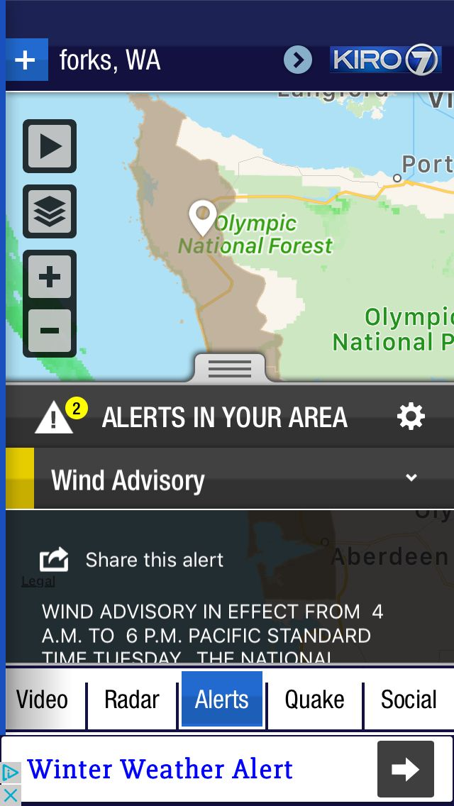 Alert for forks, WA from the @KIRO7Seattle Channel 7 Weather App. Download at http://kiroweatherapp.com.