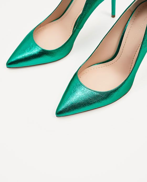 Image 7 of METALLIC GREEN COURT SHOES from Zara