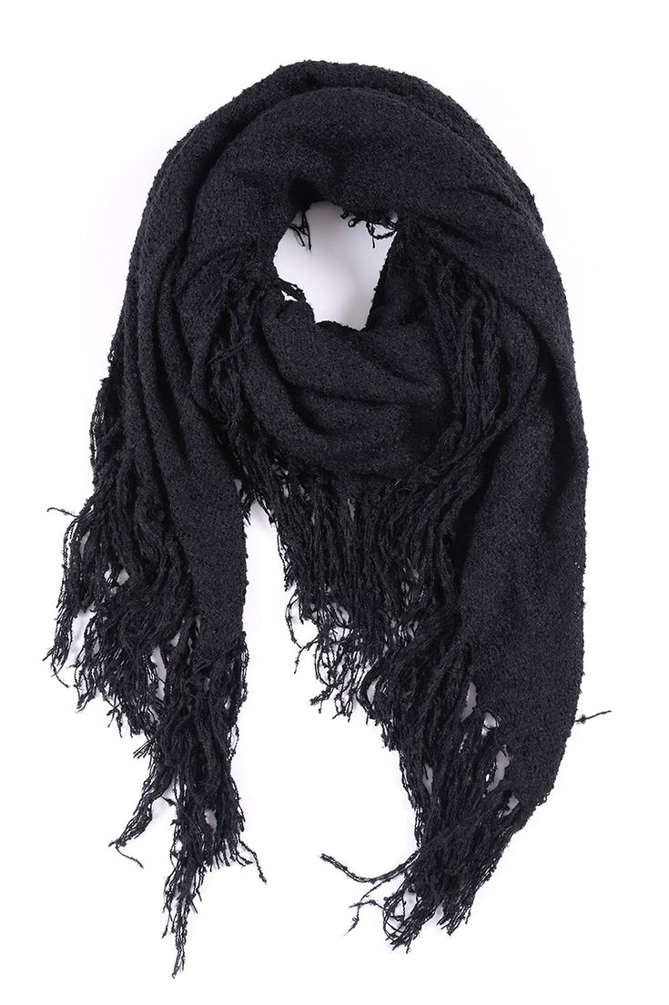 I love Scarves! Soft and Cozy Black Fringed Scarf #Black #Fringed #Tassel #Scarf #Fall #Winter #Fashion #Accessories