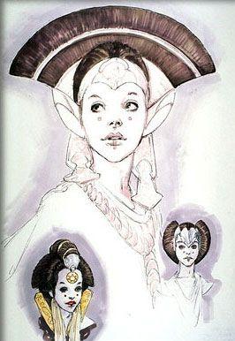 Star Wars: Episode I - The Phantom Menace concept art for Queen Amidala.