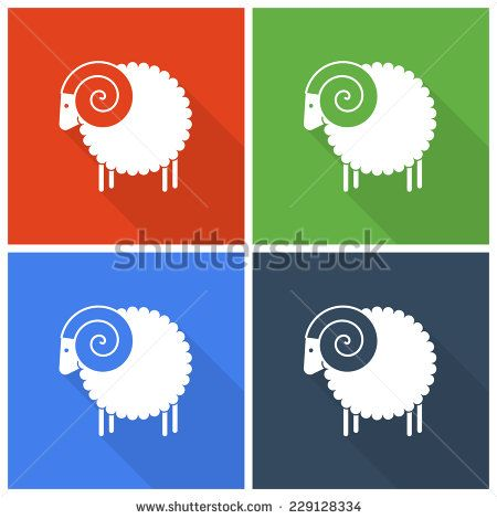 Christmas sheep icons in flat style - Shutterstock Premier