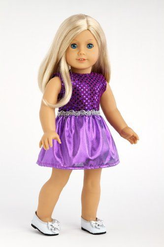 Sugar Plum - Sparkling purple holiday party dress with matching silver slippers - Clothes for American Girl Dolls by DreamWorld Collections, http://www.amazon.com/dp/B004OURYIS/ref=cm_sw_r_pi_dp_D7Qmrb1C5VTR6