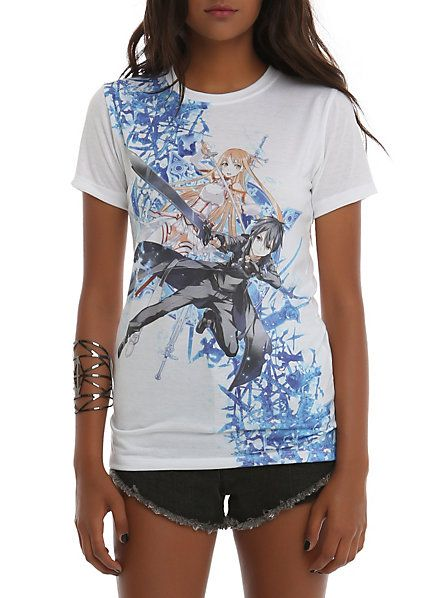 Scribble Drawing T Shirt : Sword art online asuna kirito sublimation girls t shirt
