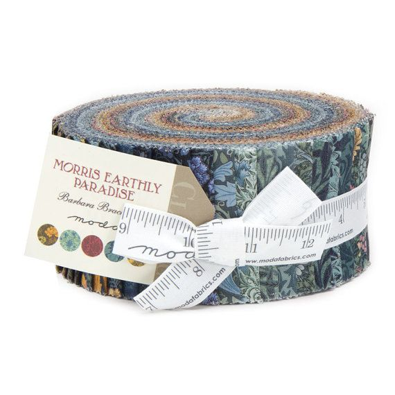 Morris Earthly Paradise Moda Fabric Moda Jelly Roll William Morris Reproduction by Barbara Brackman Fabric Collection 2.5 inch fabric strips