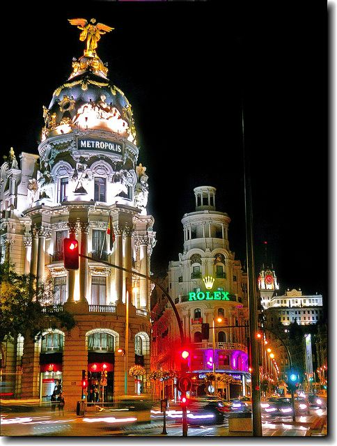 Night in Gran Vía, Madrid. Spain
