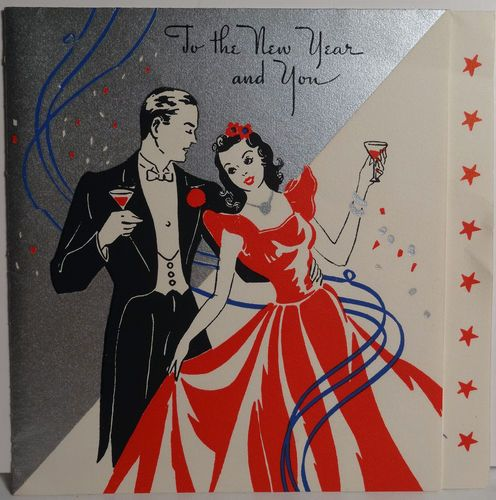 1940s New Year's Eve Ball Vintage  Card