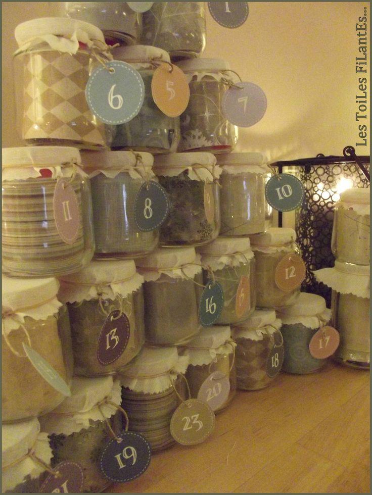 Calendrier Avent Calendario dell'Avvento con barattoli. per l'amica che ama il cucito il crochet....Da inserire materiali creativi: stoffe lane bottoni perline....<3