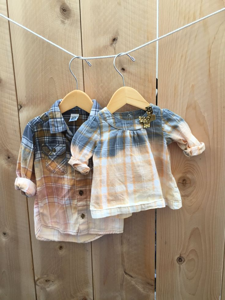 Baby Photo Shoot Grunge Bleached Sibling Flannel Set Unisex Plaid Hand dyed Shirt 90s Indie Grunge Hipster Fall Fashion One of a Kind Infant by RestoredRose on Etsy