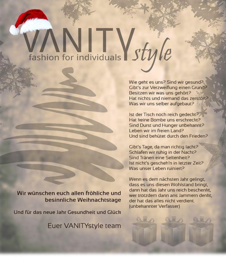 Wir wünschen euch und euren liebsten ein paar tolle Festtage. Lasst das Jahr gebührend ausklingen. Euer VANITYstyle Team   #Weihnachten #Fashion #Style #Mode #Balingen