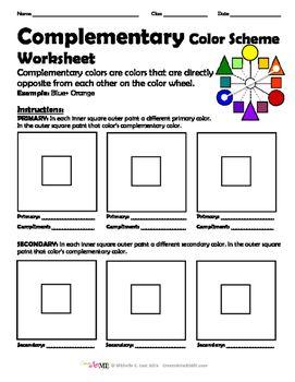 bundled 5 color schemes worksheets packet. Black Bedroom Furniture Sets. Home Design Ideas