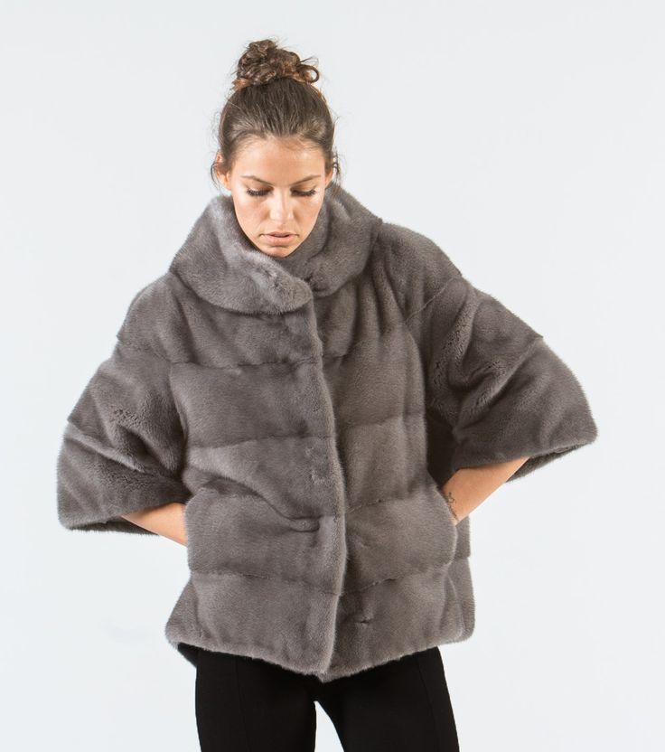 Gray Mink Short Fur Jacket     #gray #mink #fur #jacket #real #style #realfur #elegant #haute #luxury #chic #outfit #women #classy #online #store
