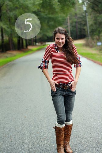 plaids and stripes: Red Stripes, Fall Wint, Most Popular Pin, Jeans, Stripes Shirts, Fall Outfits, Fashion Blog, Boots Socks, Brown Boots