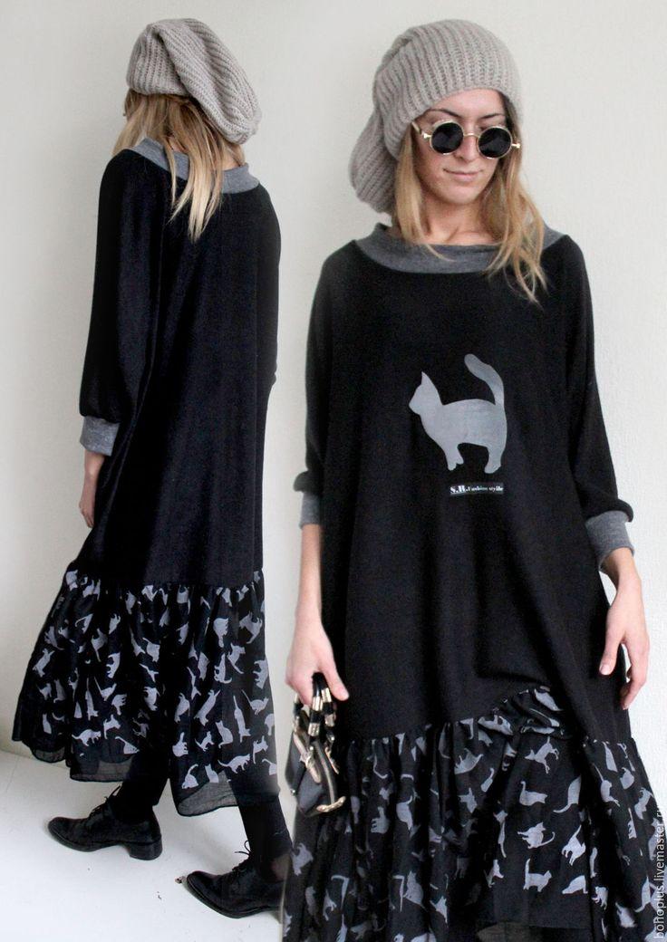 """Купить Платье бохо """"Кошки"""" - черный, звериная расцветка, черное платье, черное платье в пол"""
