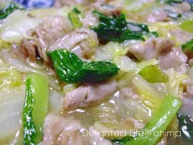 白菜とチンゲン菜の豚バラ塩あんかけ サッパリ塩あんかけで葉もの野菜をたっぷり召し上がれ♪