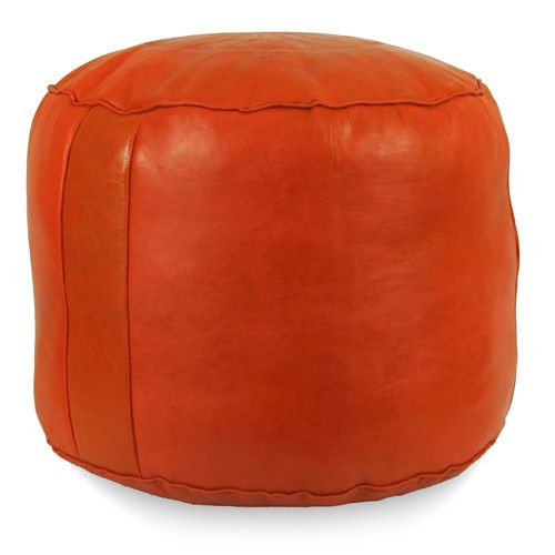 Orange Tabouret Fez Pouf Round Genuine Leather