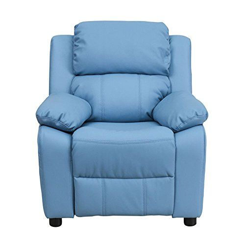 Offex OFBT7985KIDLTBLUEGG Deluxe Heavily Padded Contemporary Light Blue Vinyl Kids Recliner with Storage Arms -- Read more reviews of the product by visiting the link on the image.