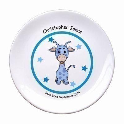 "Giraffe Blue 8"" Bone China Coupe Plate. £14.99 #Giraffe #BabyGifts #PersonalisedBabyGifts #PersonalisedGifts #PersonalisedPlate #Newborn #Baby"