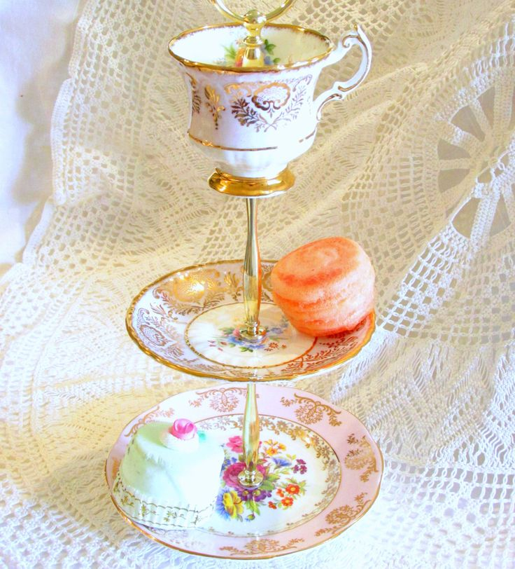 Pale Pink & Floral 3-Tier Small Dessert Tray Pedestal Serving Dish, Jewelry Holder Stand with Vintage China Cup Teacup, Plate and Saucer By High Tea for Alice by High Tea For Alice on Etsy