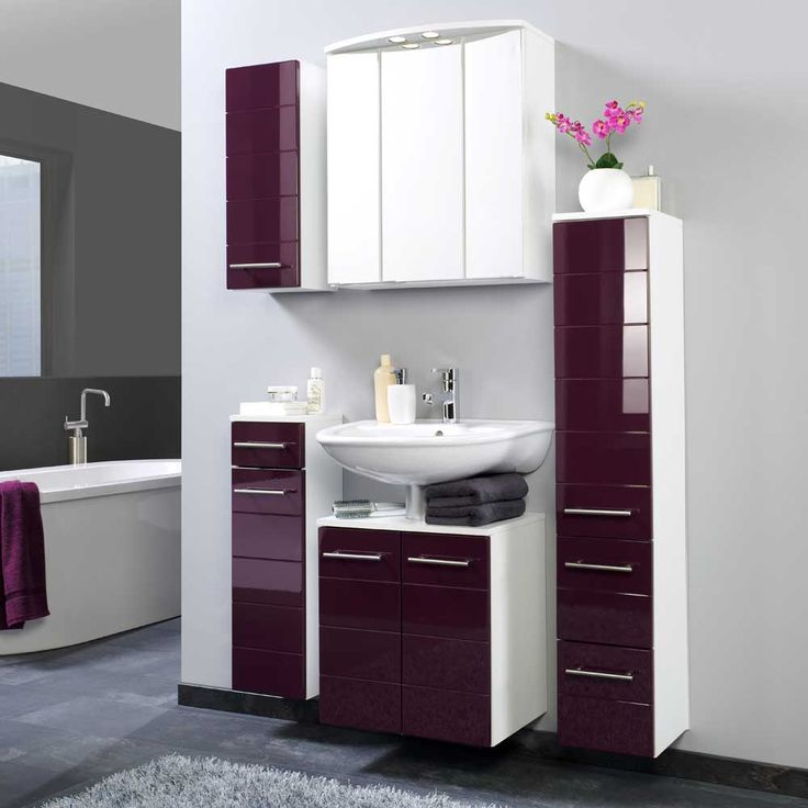 Badezimmermöbel Set In Aubergine Hochglanz Hängend (5 Teilig) Jetzt  Bestellen Unter: Https