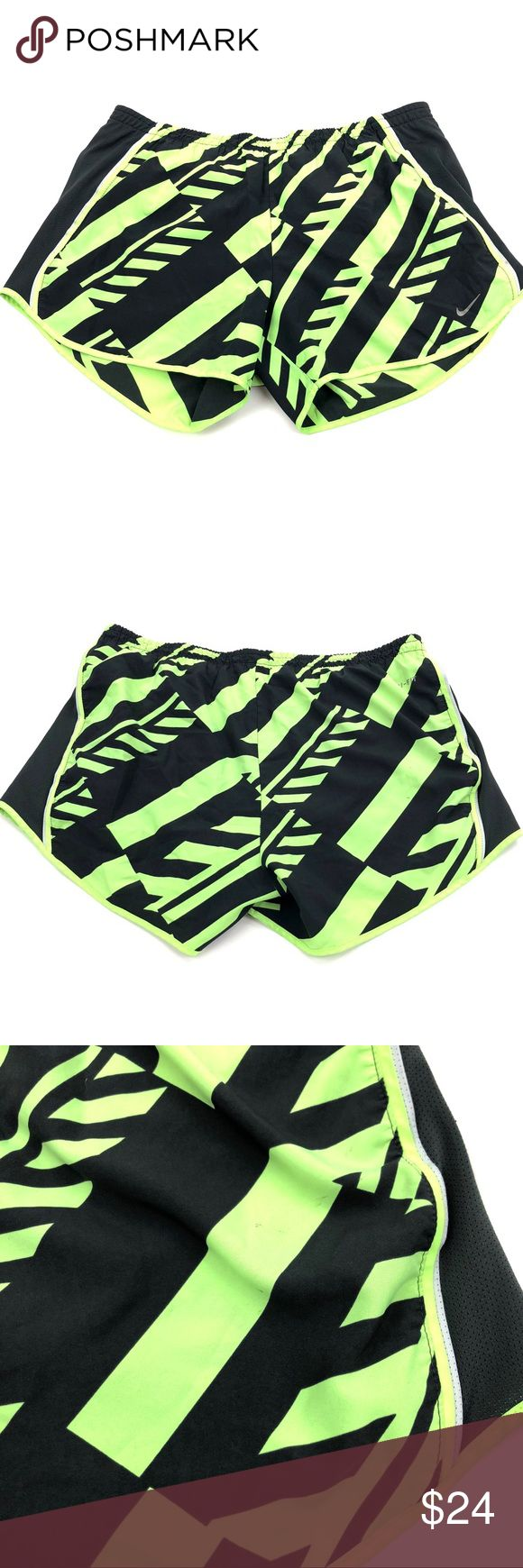 """Nike Tempo Shorts Size Medium Neon Green Black Nike Dri Fit Tempo Shorts Size Medium Built in Briefs   Waist: 15""""  Inseam: 3""""  Condition: Good pre-owned condition. Light signs of wear. Nike Shorts"""