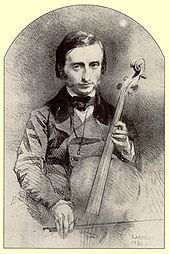 Jacques Offenbach as a young cello virtuoso, drawing by Alexandre Laemlein from 1850