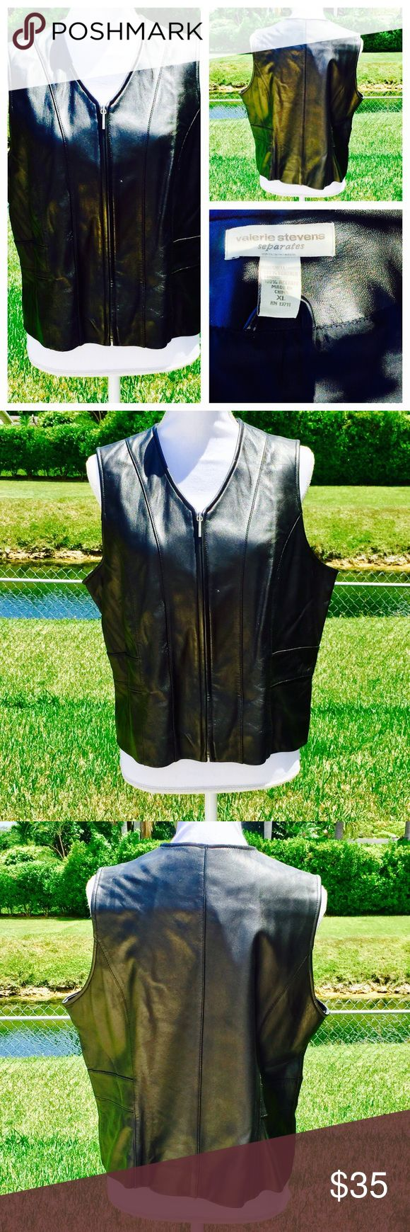 Valerie Stevens black leather vest size XL Valerie Stevens black leather vest size XL, immaculate and matches the leather pants listed. Valerie Stevens Jackets & Coats