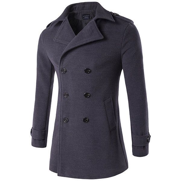Mens Winter Thick Warm Long Coat Double-breasted Turndown Collar Slim... ($52) ❤ liked on Polyvore featuring men's fashion, men's clothing, men's outerwear, men's coats, dark gray, mens double breasted coat, mens slim fit coat, mens fur collar coat and mens double breasted long coat