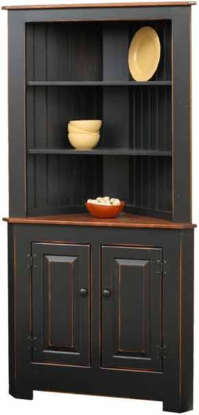 Extra Large Corner Cupboard painted in Primitive Heritage Black